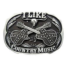 Buckle i like country music, ancien, musique, guitare, skull, boucle de ceinture