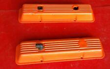 Chevy Small Block Steel Valve Covers Orange PVC