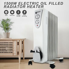 1500W Electric Oil Radiator Space Heater Room Thermostat Radiant Gray New