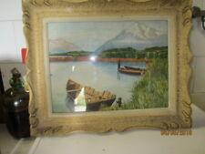 Cadre de tableau résine ouvragée avec sa peinture et verre