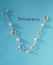 Tiffany & Co Sterling Silver Elsa Peretti 5 Open Hearts & Pearls Bracelet