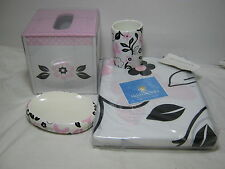4 Pcs Tiddliwinks Pink U0026 Black Floral Bath Set Shower Curtain Soap Dish  Tumbler