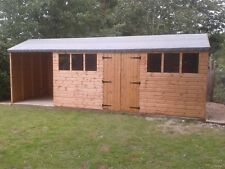 16 x 10 Wooden Shed/Workshop + 6ft store area with T&G Timber Cladding & Floor