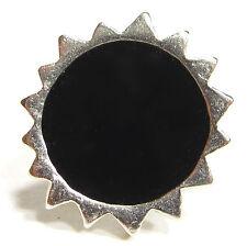 Ring SoHo® Sonne silber Kunstharz schwarz retro resin harz rund black gothic