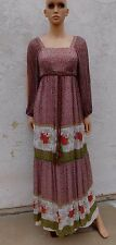Vintage Dress Original California Hippie Bohemian Long Silk Chiffon S M 1970s