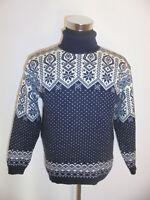 vintage sweater Rollkragenpulli Wolle 80s strickpulli blau wollpulli oldschool M