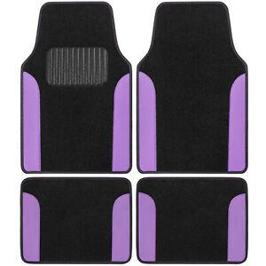 BDK Automotive Carpet Car Floor Mats w/ Purple Vinyl Two-Tone & Driver Heel Pad