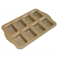 Mini Loaf Pan, 8-Cavity Non-Stick Muffin Pan,Carbon Steel Brownie Bakeware for