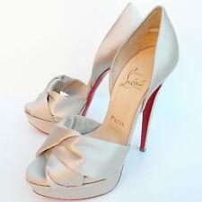 Christian Louboutin Volpi 150 Pearl Satin Peep Toe Heels Sandals -EU 35.5 UK 2.5