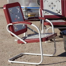 Retro Metal Lawn Chairs Armchair Red Outdoor Vintage Patio Garden Poolside