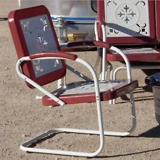 Retro Metal Lawn Chairs Armchair Red Outdoor Vintage Patio Garden Poolside