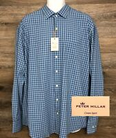NWT $139 Peter Millar Summer Comfort Crown Men's Blue Plaid Long Sleeve Shirt XL