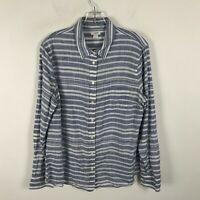 J. Crew Cotton Blouse Womens Size L Blue White Striped Long Sleeve Button Front