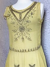 20's Vintage Flapper Yellow Chiffon Hand Embroidered Beaded Dress