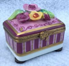 New ListingLimoges France Floral Chest/Trunk Hinged Trinket Box Hand-painted Peint Main 2�