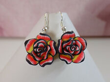 Silver Plated Multicolored Red Yellow Roses Flower Polymer Beads Hook Earrings