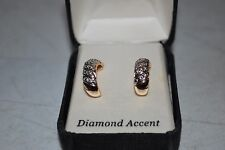 Silver Earrings with Diamond Accent 18 Kt Gold Over Sterling