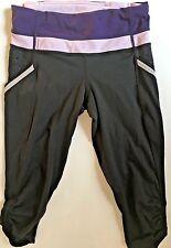 LULULEMON RUN A MARATHON CROP PANTS Black w Concord & Rose Quartz size 4 EUC