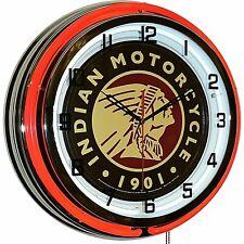 "19"" Indian Motorcycle 1901 Sign Red Neon Clock Man Cave Garage Shop Store Bike"