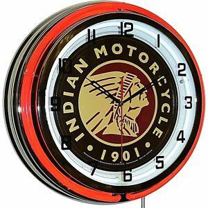 "19"" Indian Motorcycle 1901 Red Neon Clock Man Cave Garage Shop Store Bar Bike"