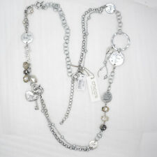 Chicos women jewelry unique antique silver tone long circle charm necklace chain