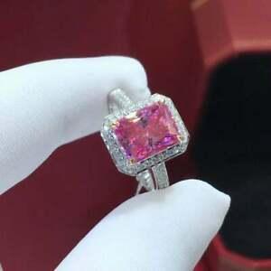 3Ct Emerald Cut Pink Sapphire Diamond Halo Engagement Ring 14k White Gold Finish