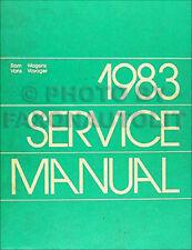 1983 Ram Van Voyager Shop Manual 83 Dodge B150 B250 B350 Plymouth PB150-PB350