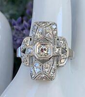 Very Art Deco Platinum Fine Diamond Ring Antique Filigree Large Top Stunner 5.75