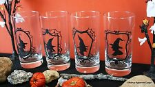 CRATE & BARREL WITCH GLASS TUMBLERS (4) -NIB- SCARE UP SOME BEVERAGE FUN!