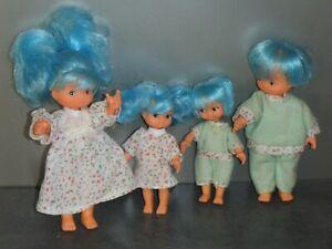 Ancienne famille Glady aux cheveux bleus quatre poupées