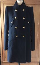 Phillip Lim 3.1 Black Wool Double Breasted Military Coat Size 8 Gold Buttons