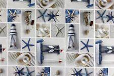 Baumwolle Dekostoff Meterware Webware Maritim Attribute - 140 cm breit 180g/m2