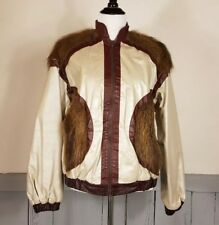 Vintage metallic leather bomber jacket Beaver fur accents 80s chic Glam unisex