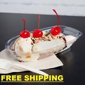 1000 CASE Clear Plastic 12 Oz Disposable Banana Split Ice Cream Sundae Boat Bowl