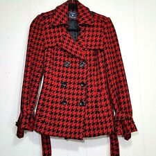 Forever 21 Houndstooth pea coat jacket black red size S waist tie w/ flaw