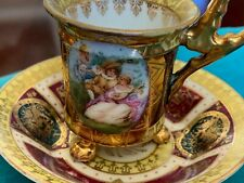 ANTIQUE ROYAL VIENNA HAND PAINTED GOLD PAW FOOT CUP & DEEP SAUCER