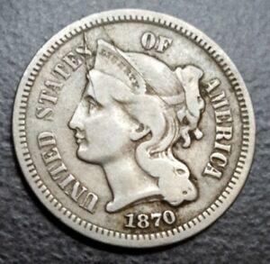 1870 US End of Civil War Era 3 cent Nickel Three Cent threecent Old Coin