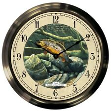 "Trintec 14"" Underwater Trout Antique Brass Fishing Clock AB14-09-TR"