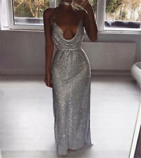 Shiny Women Dress Metal Crystal Backless Party Long Maxi Dress Luxury Halter