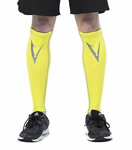 Compression Leg Calf and Shin Sleeves Anti Slip Braces Stockings Tights Hi-Vis