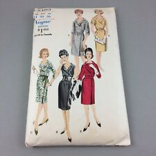 "Vtg 1960s Vogue Party Slim Dress w Wrap Skirt & Belt Pattern 5405 Cut 34"" Bust"