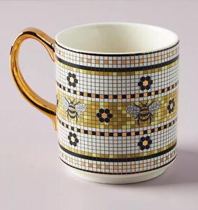 Anthropologie Garden Tile Bee Mug Gold Mosaic Coffee Tea NWT