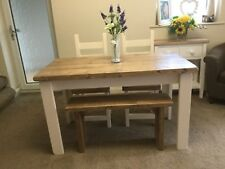 Rustic, SHabby Chic, Farmhouse Dining Table And 2 Chairs and a Bench