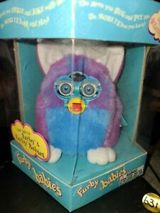 1999 Tiger Electronics Furby Baby Blue Change Blue White Purple Gray Blue Eyes