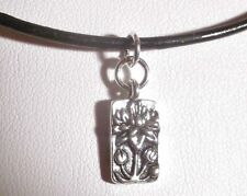 Sundance Artisan  Floating Lotus Charm, Leather & Sterling Silver Yoga Necklace
