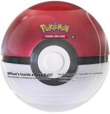 Pokemon TCG Poke Ball 2018 Pokeball Tin red/white 3 booster packs, coin box card