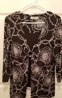 Sag Harbor Women's Top / Blouse Black and White Flower, Size PXL Petite Stretch