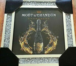 MOET & CHANDON CHAMPAGNE BOTTLE ART CRUSHED CRYSTAL FRAME WALL MIRROR PICTURE
