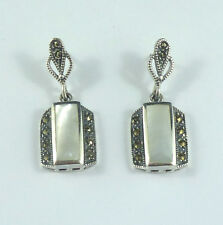 Vintage style Sterling silver, marcasite & MOP earrings