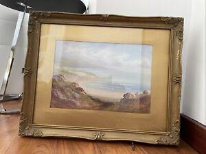 Antique Unattributed Gouache Painting -Coastal Scene 51cm x 41cm Including Frame